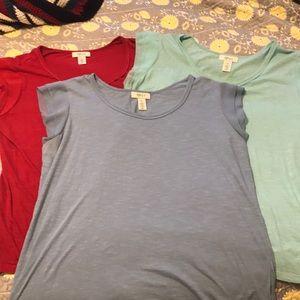 Trio of flutter cap sleeve T-shirt's